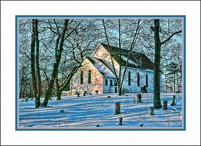 Winter At The Church Poster by Barry Monaco