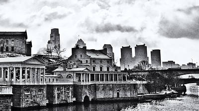 Winter At The Fairmount Waterworks In Black And White Poster by Bill Cannon