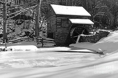 Winter At The Mill In Black And White Poster