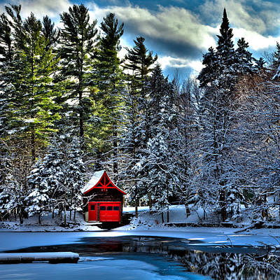 Winter At The Red Boathouse Poster by David Patterson