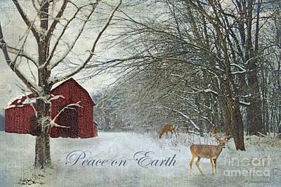 Winter Barn 2 - Peace On Earth Poster by Lianne Schneider