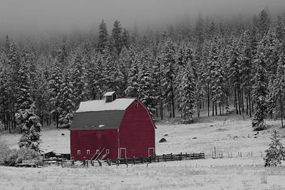 Winter Barn In Red Poster by Mark Kiver