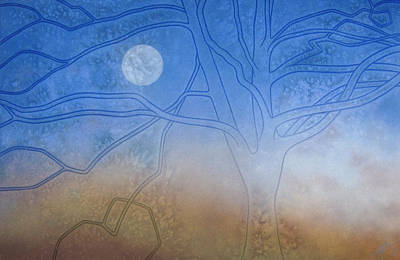 Winter Beech And Diurnal Moon Poster
