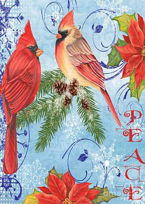 Winter Blue Cardinals-peace Card Poster