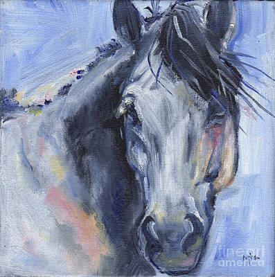 Grey Horse Painting Winter Blues Poster by Maria's Watercolor