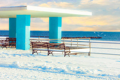 Winter Boardwalk Shelter Poster by Chris Lord