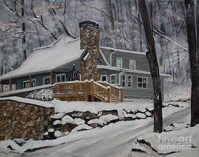 Poster featuring the painting Winter - Cabin - In The Woods by Jan Dappen