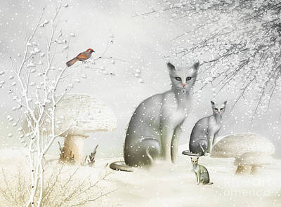 Winter Cats Poster
