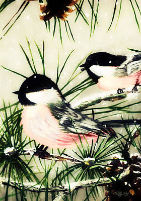 Winter Chickadees 2 Poster by Chastity Hoff