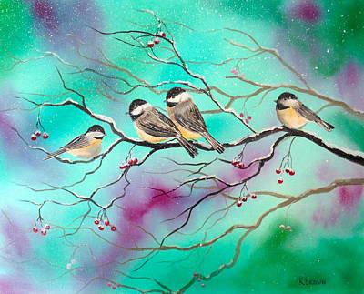Winter Chickadees Poster