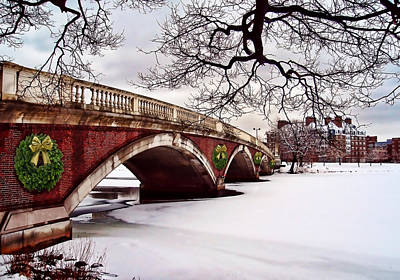 Winter Christmas On The Charles River Boston Poster by Elaine Plesser