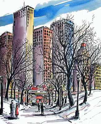 Poster featuring the painting Winter City by Terry Banderas