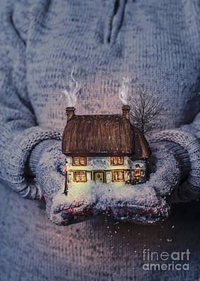 Winter Cottage At Night Poster by Amanda Elwell