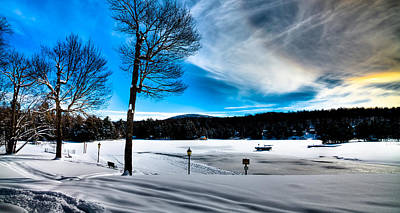 Winter Day On Old Forge Pond Poster by David Patterson