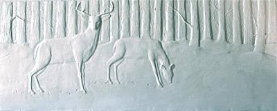 Winter Stag And Deer Poster by Deborah Dendler
