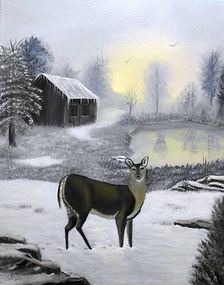 Winter Doe Poster by Sheri Keith