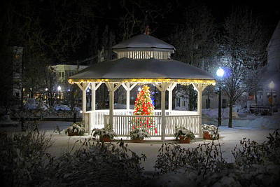Winter Evening Gazebo Poster