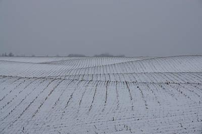Winter Farm Fields - Rolling Hills On A Bleak Snowy Day Poster