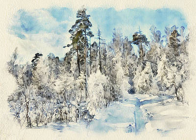 Winter Forest Landscape 28 Poster by Yury Malkov