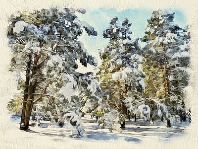 Winter Forest Landscape 32 Poster by Yury Malkov