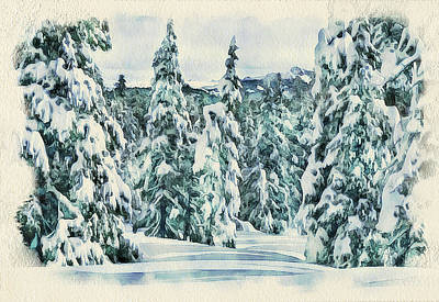 Winter Forest Landscape 35 Poster by Yury Malkov