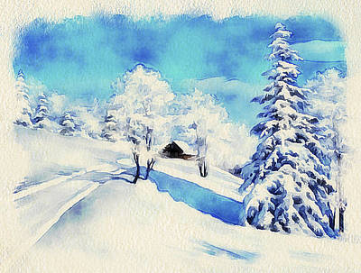 Winter Forest Landscape 37 Poster by Yury Malkov