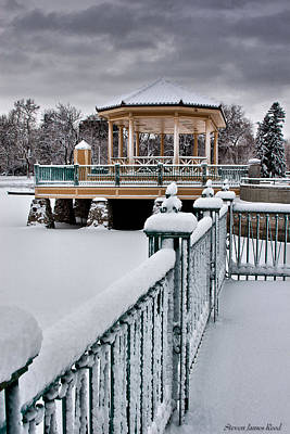 Poster featuring the photograph Winter Gazebo by Steven Reed
