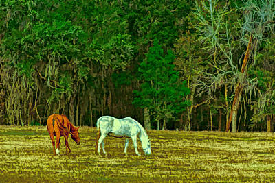 Winter Grazing In North Florida Poster by Lewis Mann