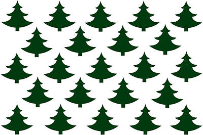 Winter Green Christmas Tree Poster by Chastity Hoff