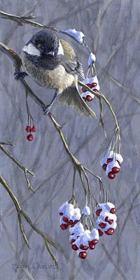 Winter Harvest 1 Chickadee Painting Poster
