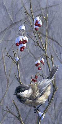 Winter Harvest 2 Chickadee And Berries Painting Poster by Karen Whitworth