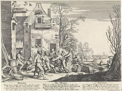 Winter Hyems, Jan Van De Velde II, Anonymous Poster by Jan Van De Velde (ii) And Anonymous And Martin Engelbrecht