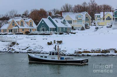 Winter In Perkins Cove Poster by Joe Faragalli