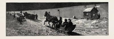 Winter In Russia The Road Across The Ice Between Cronstadt Poster