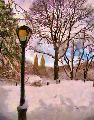 Winter In The Park Poster by Anthony Caruso