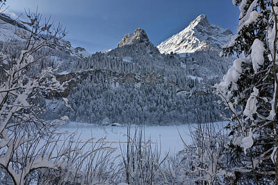 Winter Landscape At Tschingelsee (lake Poster by Martin Zwick