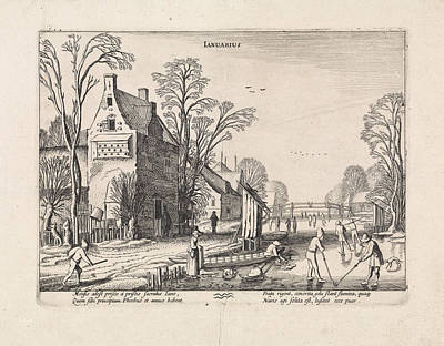 Winter Landscape With Flask Players On The Ice January Poster