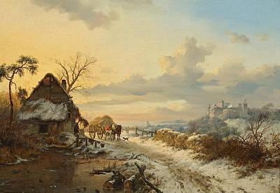 Winter Landscape With Horses And Carts Poster
