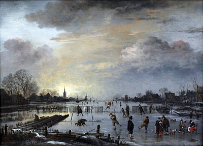 Poster featuring the painting Winter Landscape With Skaters by Gianfranco Weiss