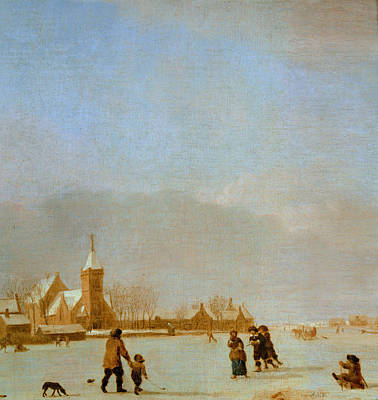 Winter Landscape With Skaters Oil On Panel Poster by Adriaen van de Velde