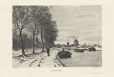Winter Landscape With Speed And Mills, Willem Steelink II Poster