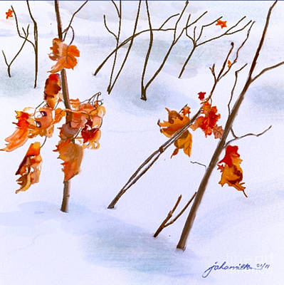 Winter Leaves Poster by Joan A Hamilton