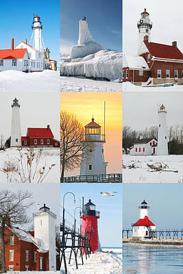 Winter Lighthouses In Michigan Poster by Michael Peychich