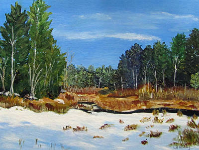 Poster featuring the painting Winter Marsh In Hooksett by Linda Feinberg