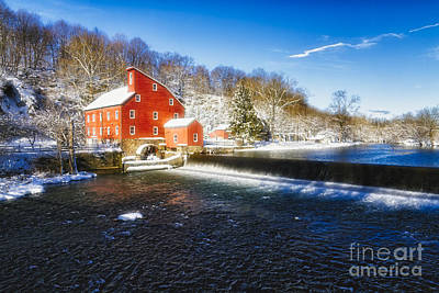 Winter Morning With A Red Gristmill Poster by George Oze