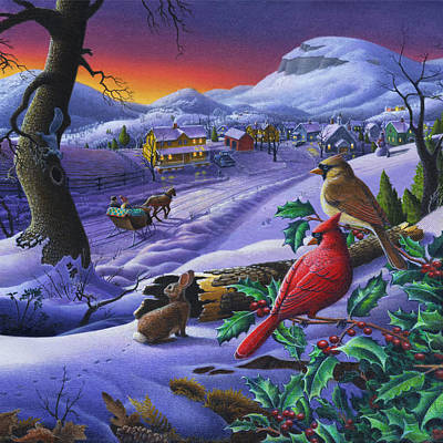 Winter Mountain Landscape - Cardinals On Holly Bush - Small Town - Sleigh Ride - Square Format Poster
