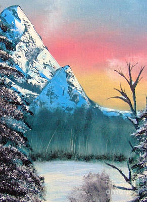Poster featuring the painting Winter Mountain Twilight by Marianne NANA Betts