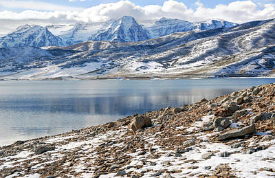 Winter Mt. Timpanogos And Deer Creek Reservoir Poster by Gary Whitton