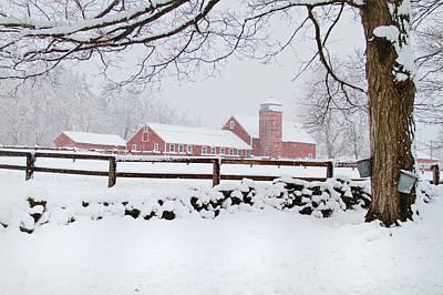 Winter New England Farm Poster