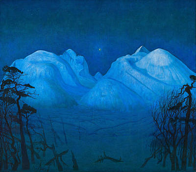 Winter Night In The Mountains Poster by Harald Sohlberg